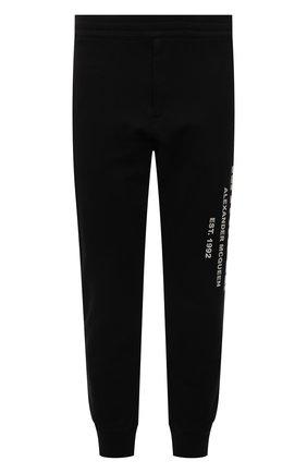 Мужские хлопковые джоггеры ALEXANDER MCQUEEN черного цвета, арт. 662580/QRZ71 | Фото 1 (Материал внешний: Хлопок; Силуэт М (брюки): Джоггеры; Мужское Кросс-КТ: Брюки-трикотаж; Стили: Спорт-шик; Кросс-КТ: Спорт; Длина (брюки, джинсы): Стандартные)