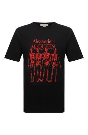 Мужская хлопковая футболка ALEXANDER MCQUEEN черного цвета, арт. 662547/QRZ61 | Фото 1 (Материал внешний: Хлопок; Рукава: Короткие; Длина (для топов): Стандартные; Принт: С принтом; Стили: Панк)