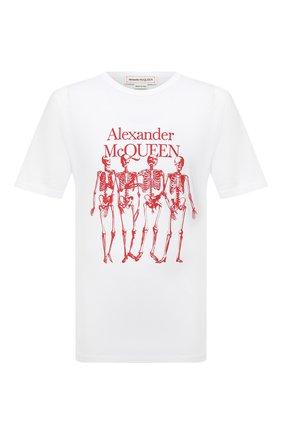 Мужская хлопковая футболка ALEXANDER MCQUEEN белого цвета, арт. 662547/QRZ61 | Фото 1 (Материал внешний: Хлопок; Принт: С принтом; Стили: Панк; Рукава: Короткие; Длина (для топов): Стандартные)