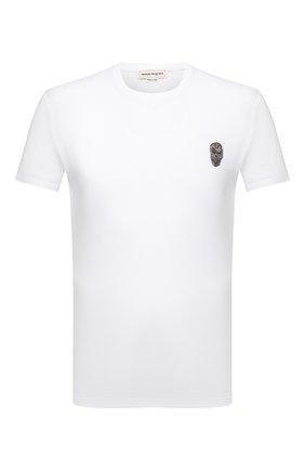 Мужская хлопковая футболка ALEXANDER MCQUEEN белого цвета, арт. 662486/QRX04 | Фото 1 (Длина (для топов): Стандартные; Рукава: Короткие; Материал внешний: Хлопок; Принт: Без принта; Стили: Панк)