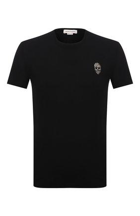 Мужская хлопковая футболка ALEXANDER MCQUEEN черного цвета, арт. 662486/QRX04 | Фото 1 (Материал внешний: Хлопок; Принт: Без принта; Стили: Панк; Рукава: Короткие; Длина (для топов): Стандартные)