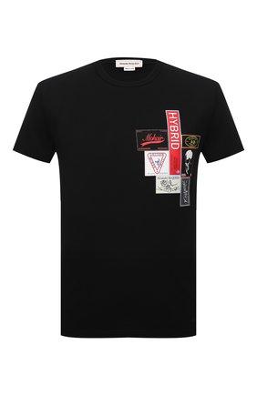 Мужская хлопковая футболка ALEXANDER MCQUEEN черного цвета, арт. 662485/QRZ58 | Фото 1 (Материал внешний: Хлопок; Рукава: Короткие; Длина (для топов): Стандартные; Стили: Панк)