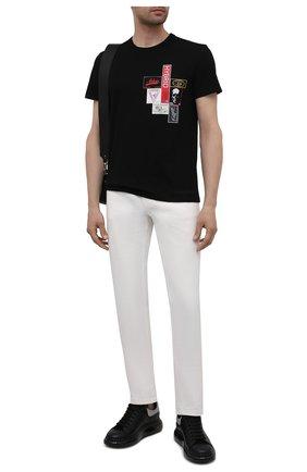 Мужская хлопковая футболка ALEXANDER MCQUEEN черного цвета, арт. 662485/QRZ58 | Фото 2 (Материал внешний: Хлопок; Рукава: Короткие; Длина (для топов): Стандартные; Стили: Панк)