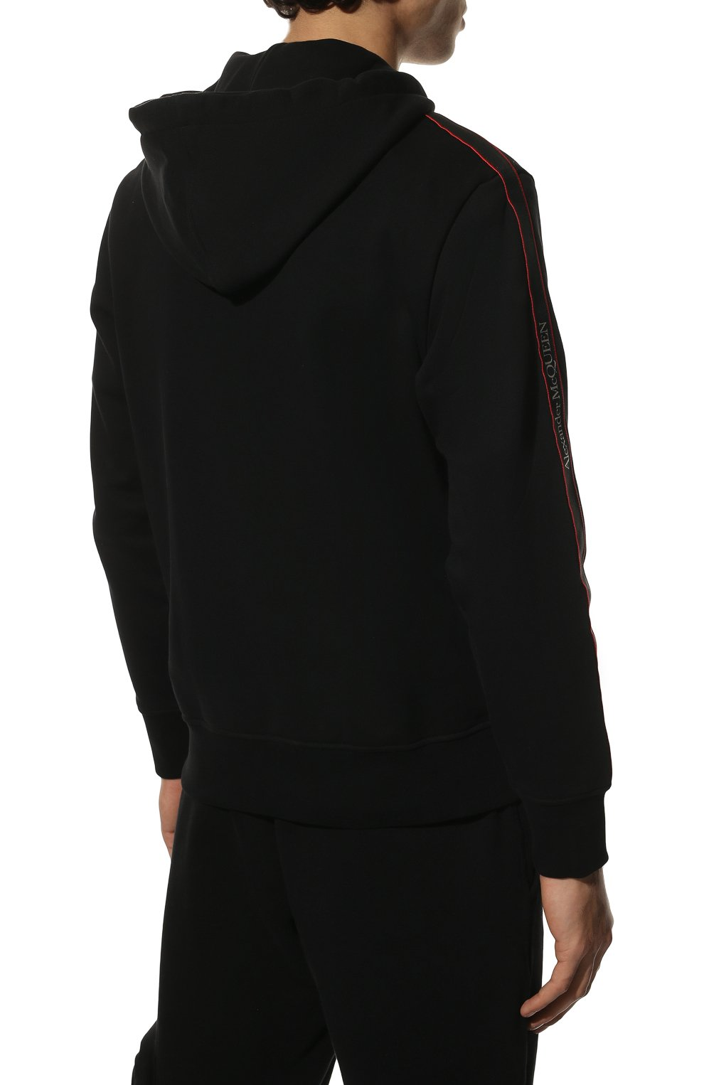 Мужской хлопковая толстовка ALEXANDER MCQUEEN черного цвета, арт. 654794/QRX75 | Фото 4 (Рукава: Длинные; Мужское Кросс-КТ: Толстовка-одежда; Длина (для топов): Стандартные; Материал внешний: Хлопок; Стили: Спорт-шик)