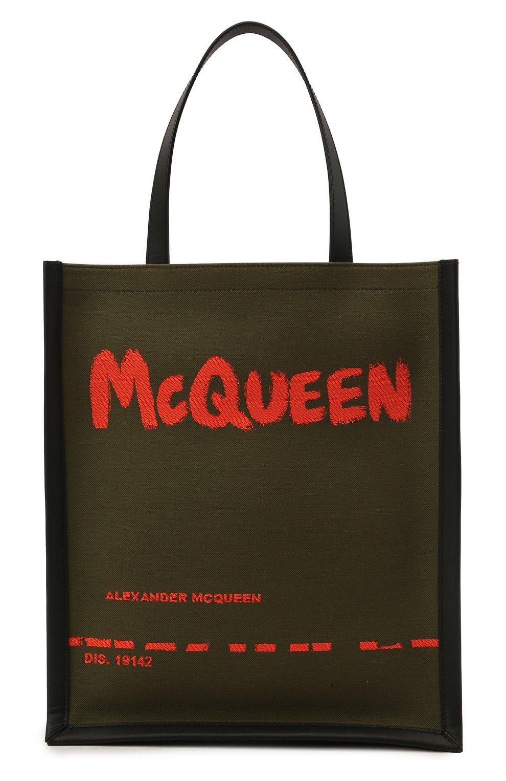 Мужская текстильная сумка-шопер ALEXANDER MCQUEEN хаки цвета, арт. 653165/2B410 | Фото 1