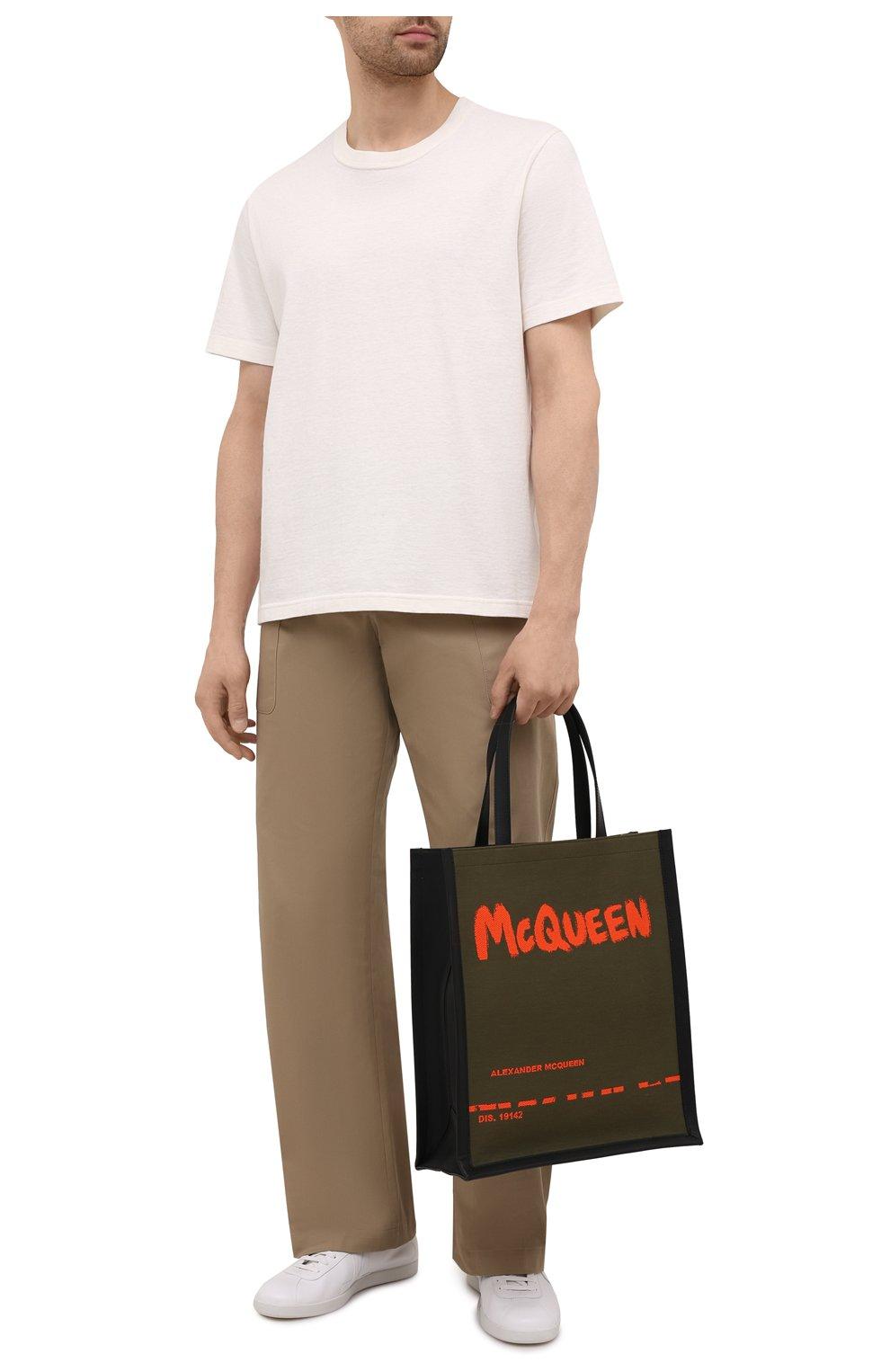 Мужская текстильная сумка-шопер ALEXANDER MCQUEEN хаки цвета, арт. 653165/2B410 | Фото 2