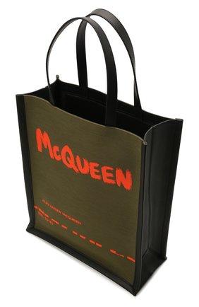 Мужская текстильная сумка-шопер ALEXANDER MCQUEEN хаки цвета, арт. 653165/2B410 | Фото 4