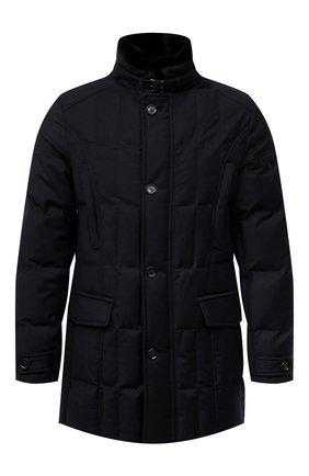 Мужская пуховик с меховой отделкой valente-ll MOORER синего цвета, арт. VALENTE-LL/M0UGI100296-TEPA236 | Фото 1 (Материал внешний: Шерсть; Рукава: Длинные; Мужское Кросс-КТ: пуховик-короткий; Стили: Классический; Материал подклада: Синтетический материал; Кросс-КТ: Куртка; Длина (верхняя одежда): До середины бедра)