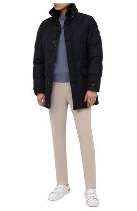 Мужская пуховик с меховой отделкой valente-ll MOORER синего цвета, арт. VALENTE-LL/M0UGI100296-TEPA236 | Фото 2 (Материал внешний: Шерсть; Рукава: Длинные; Мужское Кросс-КТ: пуховик-короткий; Стили: Классический; Материал подклада: Синтетический материал; Кросс-КТ: Куртка; Длина (верхняя одежда): До середины бедра)
