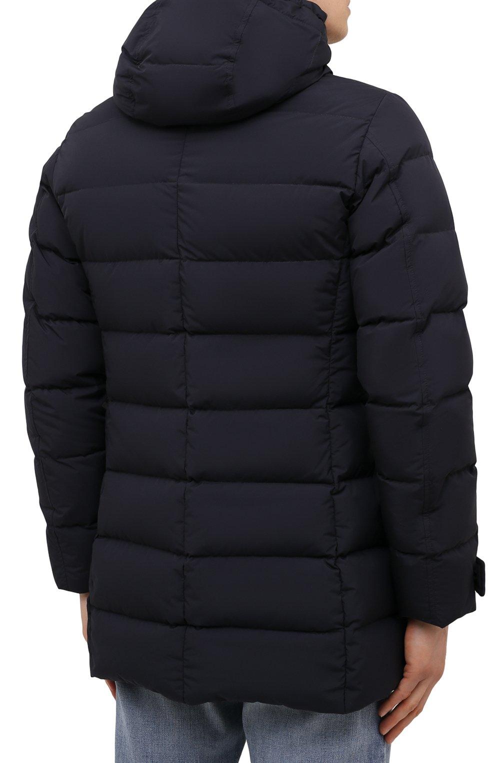 Мужская пуховик с меховой отделкой saturno-stp MOORER синего цвета, арт. SATURN0-STP/M0UGI100271-TEPA023   Фото 4 (Кросс-КТ: Куртка; Мужское Кросс-КТ: пуховик-короткий; Рукава: Длинные; Длина (верхняя одежда): До середины бедра; Материал внешний: Синтетический материал; Материал подклада: Синтетический материал; Материал утеплителя: Пух и перо; Стили: Кэжуэл)