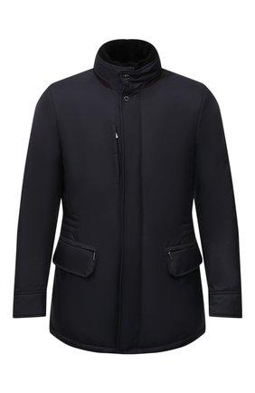Мужская пуховая куртка с меховой отделкой bernier-ads MOORER темно-синего цвета, арт. BERNIER-ADS/M0UGI100118-TEPA011 | Фото 1 (Материал внешний: Синтетический материал; Материал подклада: Синтетический материал; Рукава: Длинные; Мужское Кросс-КТ: пуховик-короткий; Кросс-КТ: Куртка; Стили: Классический; Материал утеплителя: Пух и перо; Длина (верхняя одежда): До середины бедра)