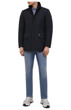 Мужская пуховая куртка с меховой отделкой bernier-ads MOORER темно-синего цвета, арт. BERNIER-ADS/M0UGI100118-TEPA011 | Фото 2 (Материал внешний: Синтетический материал; Материал подклада: Синтетический материал; Рукава: Длинные; Мужское Кросс-КТ: пуховик-короткий; Кросс-КТ: Куртка; Стили: Классический; Материал утеплителя: Пух и перо; Длина (верхняя одежда): До середины бедра)