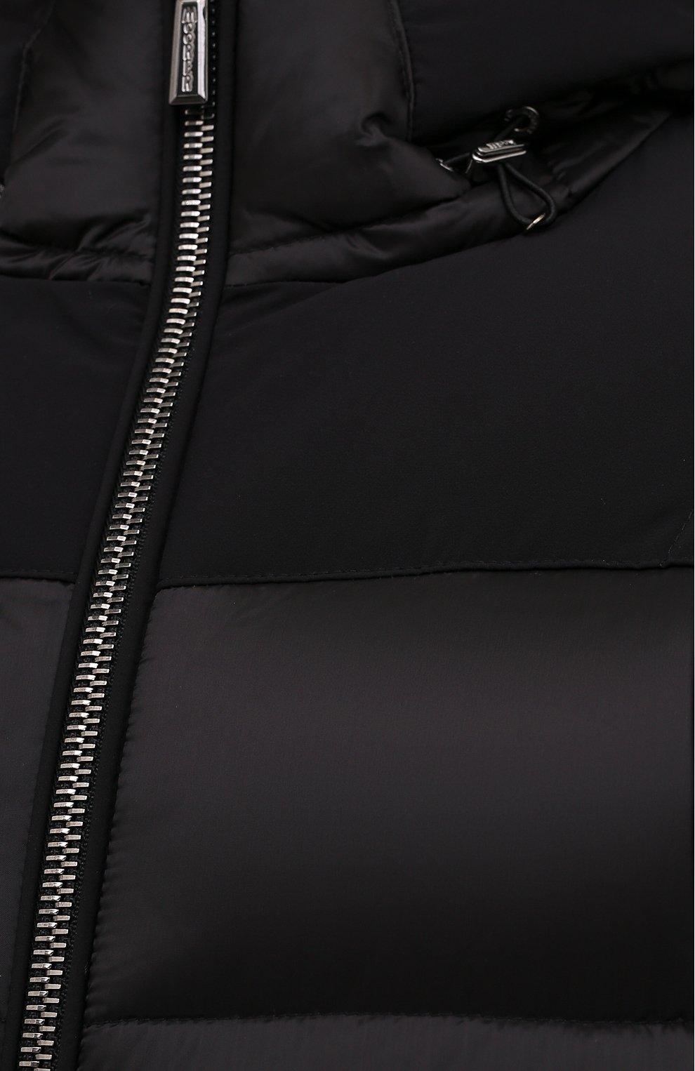 Мужской пуховый бомбер riccardo-shk MOORER черного цвета, арт. RICCARD0-SHK/M0UGI100268-TEPA206   Фото 5 (Кросс-КТ: Куртка, Пуховик; Мужское Кросс-КТ: пуховик-короткий; Рукава: Длинные; Принт: Без принта; Материал внешний: Синтетический материал; Материал подклада: Синтетический материал; Длина (верхняя одежда): Короткие; Материал утеплителя: Пух и перо; Стили: Кэжуэл)