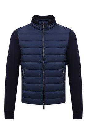 Мужская комбинированная куртка cattaneo-s3r MOORER синего цвета, арт. CATTANE0-S3R/M0UB0100003-TEPA003 | Фото 1 (Рукава: Длинные; Материал подклада: Синтетический материал; Длина (верхняя одежда): Короткие; Материал утеплителя: Пух и перо; Материал внешний: Синтетический материал; Мужское Кросс-КТ: пуховик-короткий; Кросс-КТ: Куртка; Стили: Кэжуэл)