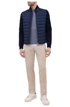 Мужская комбинированная куртка cattaneo-s3r MOORER синего цвета, арт. CATTANE0-S3R/M0UB0100003-TEPA003 | Фото 2 (Рукава: Длинные; Материал подклада: Синтетический материал; Длина (верхняя одежда): Короткие; Материал утеплителя: Пух и перо; Материал внешний: Синтетический материал; Мужское Кросс-КТ: пуховик-короткий; Кросс-КТ: Куртка; Стили: Кэжуэл)