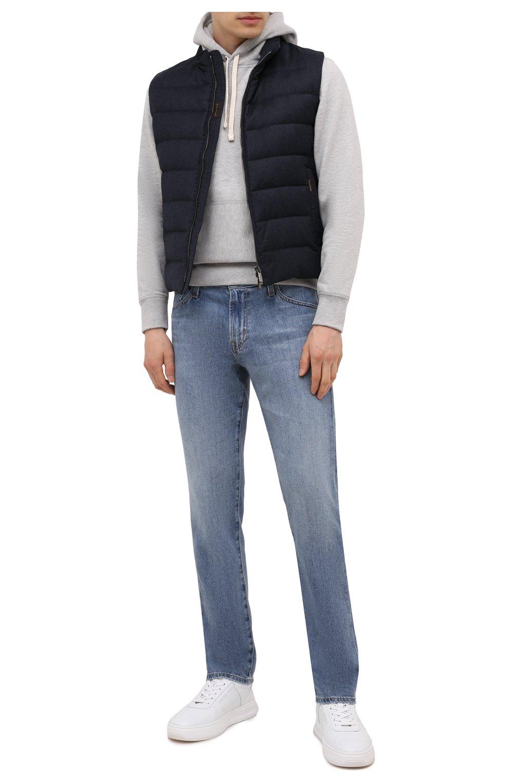 Мужской пуховый жилет oliver-l MOORER синего цвета, арт. 0LIVER-L/M0UGL100050-TEPA217 | Фото 2 (Кросс-КТ: Куртка, Пуховик; Материал внешний: Шерсть; Материал подклада: Синтетический материал; Длина (верхняя одежда): Короткие; Материал утеплителя: Пух и перо; Стили: Кэжуэл)