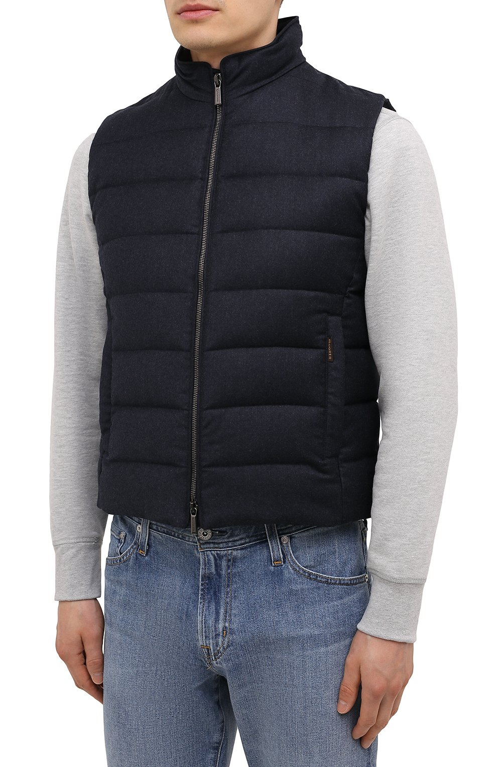 Мужской пуховый жилет oliver-l MOORER синего цвета, арт. 0LIVER-L/M0UGL100050-TEPA217 | Фото 3 (Кросс-КТ: Куртка, Пуховик; Материал внешний: Шерсть; Материал подклада: Синтетический материал; Длина (верхняя одежда): Короткие; Материал утеплителя: Пух и перо; Стили: Кэжуэл)
