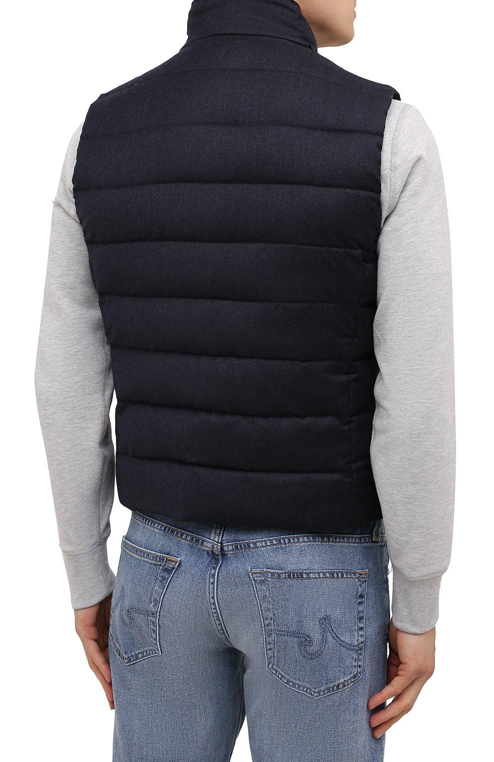 Мужской пуховый жилет oliver-l MOORER синего цвета, арт. 0LIVER-L/M0UGL100050-TEPA217 | Фото 4 (Кросс-КТ: Куртка, Пуховик; Материал внешний: Шерсть; Материал подклада: Синтетический материал; Длина (верхняя одежда): Короткие; Материал утеплителя: Пух и перо; Стили: Кэжуэл)