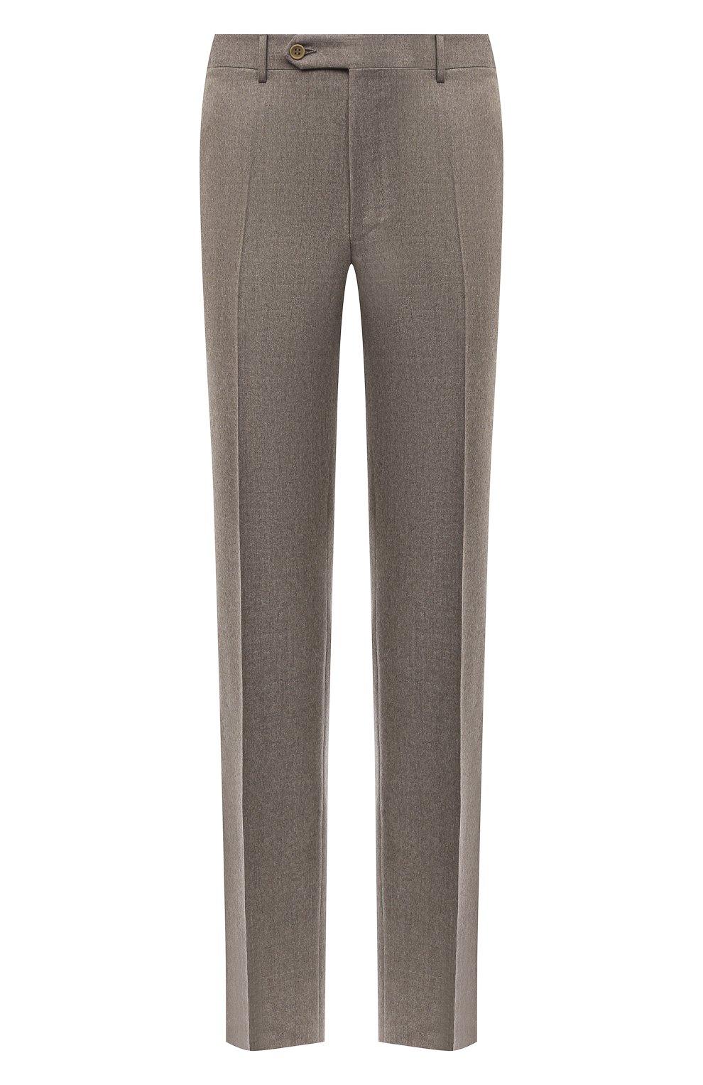 Мужские шерстяные брюки CANALI темно-бежевого цвета, арт. 71012/AN00019   Фото 1 (Материал внешний: Шерсть; Длина (брюки, джинсы): Стандартные; Случай: Повседневный; Стили: Классический; Материал подклада: Вискоза)