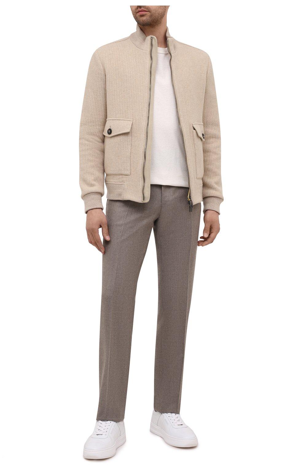 Мужские шерстяные брюки CANALI темно-бежевого цвета, арт. 71012/AN00019   Фото 2 (Материал внешний: Шерсть; Длина (брюки, джинсы): Стандартные; Случай: Повседневный; Стили: Классический; Материал подклада: Вискоза)