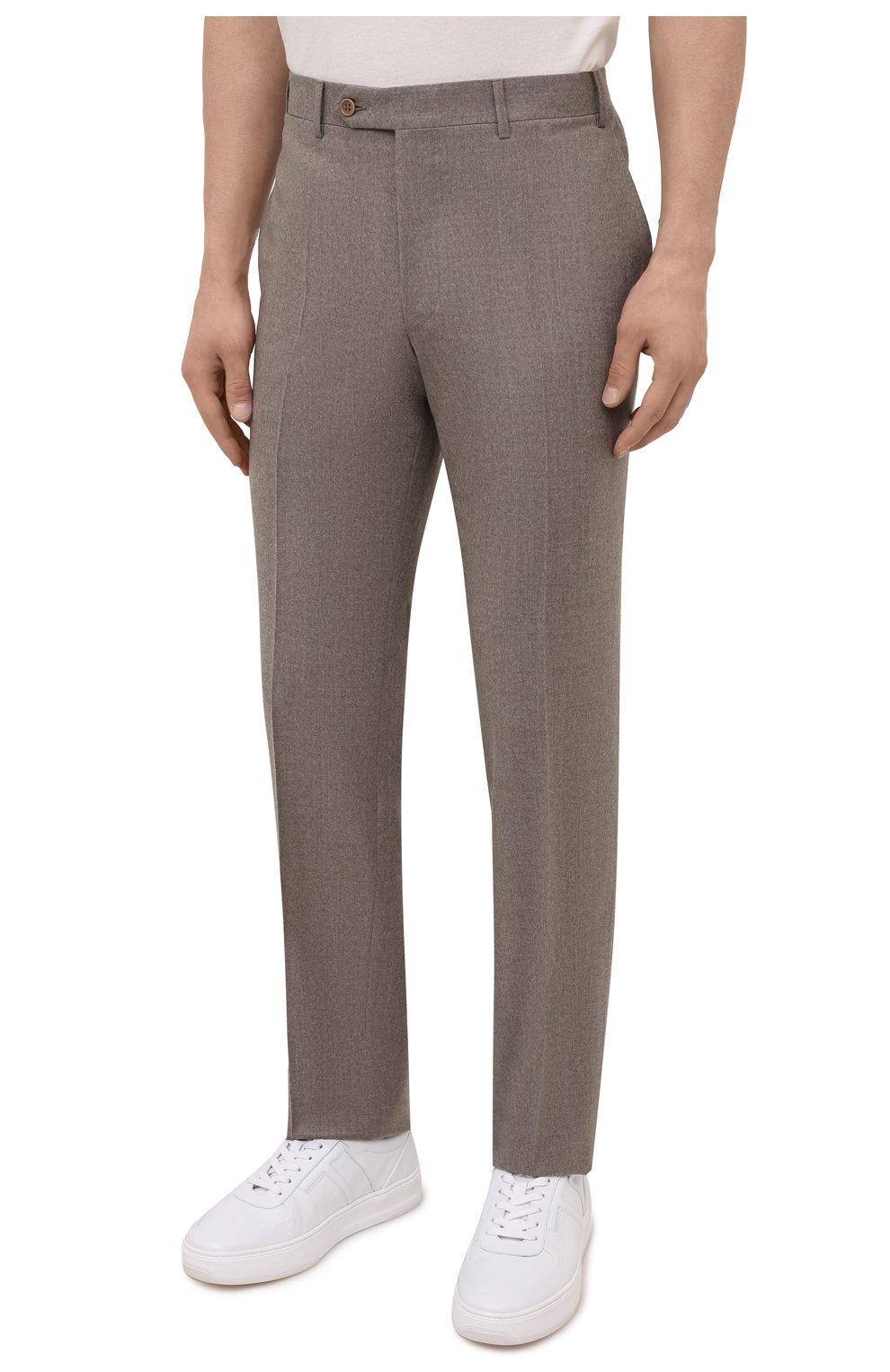 Мужские шерстяные брюки CANALI темно-бежевого цвета, арт. 71012/AN00019   Фото 3 (Материал внешний: Шерсть; Длина (брюки, джинсы): Стандартные; Случай: Повседневный; Стили: Классический; Материал подклада: Вискоза)