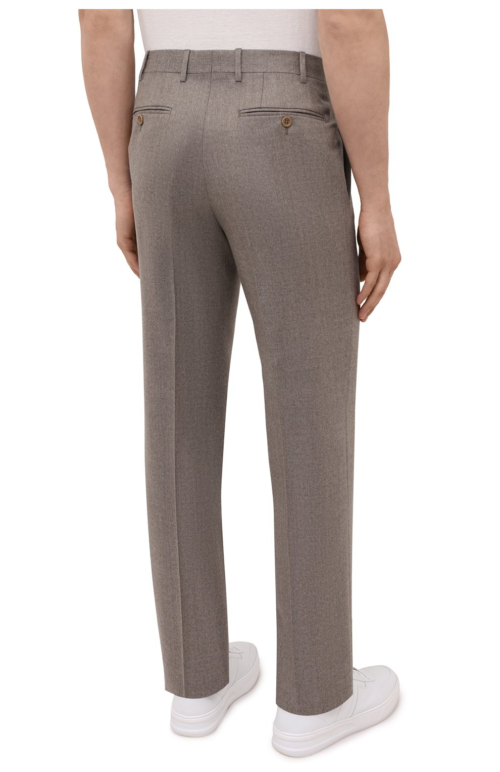 Мужские шерстяные брюки CANALI темно-бежевого цвета, арт. 71012/AN00019   Фото 4 (Материал внешний: Шерсть; Длина (брюки, джинсы): Стандартные; Случай: Повседневный; Стили: Классический; Материал подклада: Вискоза)