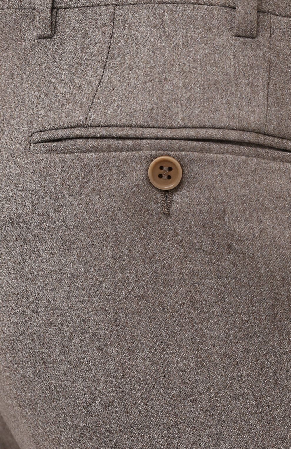 Мужские шерстяные брюки CANALI темно-бежевого цвета, арт. 71012/AN00019   Фото 5 (Материал внешний: Шерсть; Длина (брюки, джинсы): Стандартные; Случай: Повседневный; Стили: Классический; Материал подклада: Вискоза)