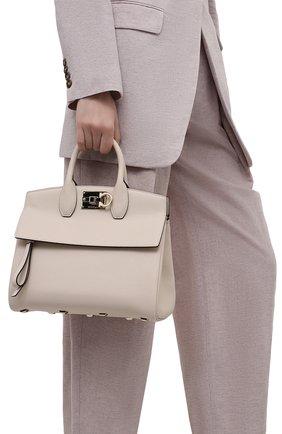 Женская сумка SALVATORE FERRAGAMO кремвого цвета, арт. Z-0722629   Фото 2