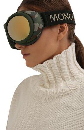 Женские горнолыжная маска MONCLER хаки цвета, арт. ML 0130 97C 89 с/з очки | Фото 2