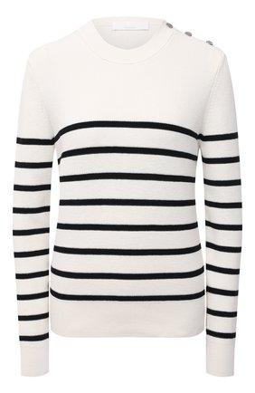 Женский хлопковый пуловер BOSS белого цвета, арт. 50453050   Фото 1