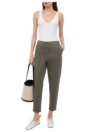 Женские хлопковые брюки BOSS хаки цвета, арт. 50460782 | Фото 2