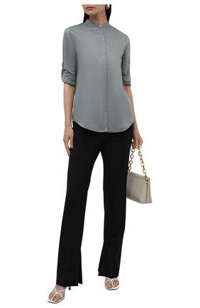 Женская хлопковая рубашка BOSS серого цвета, арт. 50436922 | Фото 2