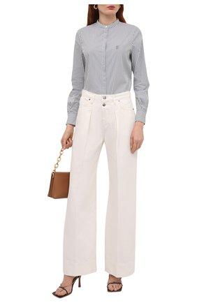 Женская хлопковая рубашка BOSS серого цвета, арт. 50437147 | Фото 2