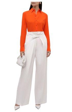 Женская шелковая рубашка RALPH LAUREN оранжевого цвета, арт. 290788940 | Фото 2