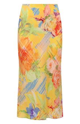 Женская шелковая юбка RALPH LAUREN желтого цвета, арт. 290842611   Фото 1