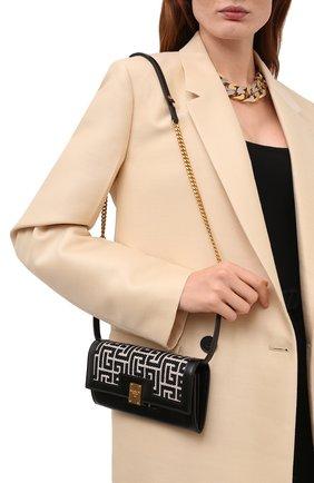 Женские кожаный кошелек 1945 BALMAIN черно-белого цвета, арт. WN10N112/TJLX | Фото 2