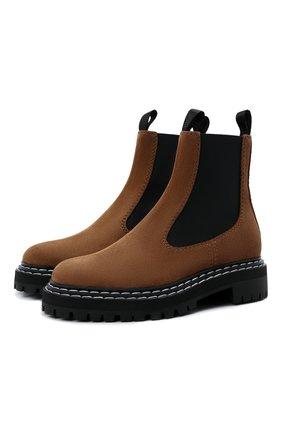 Женские комбинированные ботинки PROENZA SCHOULER коричневого цвета, арт. PS35115A/14022 | Фото 1