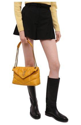 Женская сумка puffer small SAINT LAURENT желтого цвета, арт. 577476/1EL07   Фото 2