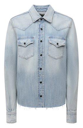 Женская джинсовая рубашка SAINT LAURENT голубого цвета, арт. 653999/Y31GA   Фото 1