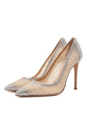 Женские комбинированные туфли rania GIANVITO ROSSI серебряного цвета, арт. G20130.15RIC.B0RSINU | Фото 1