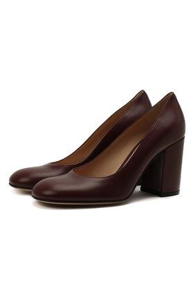 Женские кожаные туфли GIANVITO ROSSI бордового цвета, арт. G22011.85RIC.VITMERL | Фото 1 (Подошва: Плоская; Материал внутренний: Натуральная кожа; Каблук тип: Устойчивый; Каблук высота: Высокий)