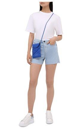 Женские кожаные кеды ALEXANDER MCQUEEN светло-голубого цвета, арт. 553770/WHGP7 | Фото 2