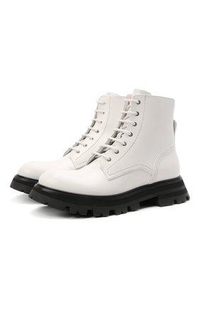 Женские кожаные ботинки ALEXANDER MCQUEEN белого цвета, арт. 657569/WHZ80 | Фото 1 (Материал внутренний: Натуральная кожа; Женское Кросс-КТ: Военные ботинки; Подошва: Платформа; Каблук высота: Низкий)