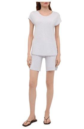 Женские шорты из вискозы HANRO светло-голубого цвета, арт. 076238 | Фото 2