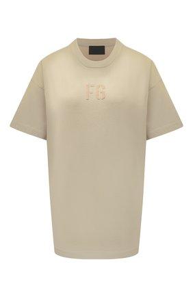 Женская хлопковая футболка FEAR OF GOD бежевого цвета, арт. FG50-025CTJ | Фото 1