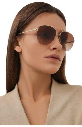 Женские солнцезащитные очки BURBERRY коричневого цвета, арт. 3113-110913   Фото 2 (Тип очков: С/з; Очки форма: Авиаторы)