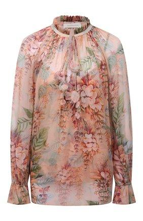 Женская шелковая блузка ZIMMERMANN кораллового цвета, арт. 1345TCAN | Фото 1 (Длина (для топов): Стандартные; Материал подклада: Синтетический материал; Рукава: Длинные; Материал внешний: Шелк; Стили: Романтичный; Принт: С принтом; Женское Кросс-КТ: Блуза-одежда)