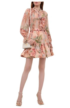 Женская шелковая блузка ZIMMERMANN кораллового цвета, арт. 1345TCAN | Фото 2 (Длина (для топов): Стандартные; Материал подклада: Синтетический материал; Рукава: Длинные; Материал внешний: Шелк; Стили: Романтичный; Принт: С принтом; Женское Кросс-КТ: Блуза-одежда)