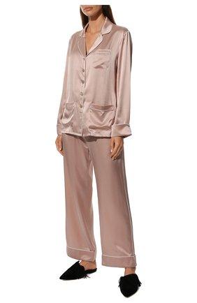 Женская шелковая пижама OLIVIA VON HALLE розового цвета, арт. CT0027 | Фото 2