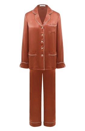 Женская шелковая пижама OLIVIA VON HALLE оранжевого цвета, арт. SS2112 | Фото 1